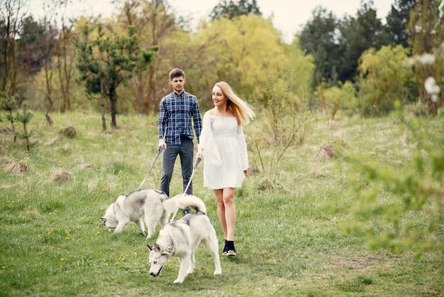 Schöne paare in einem sommerwald mit hunde