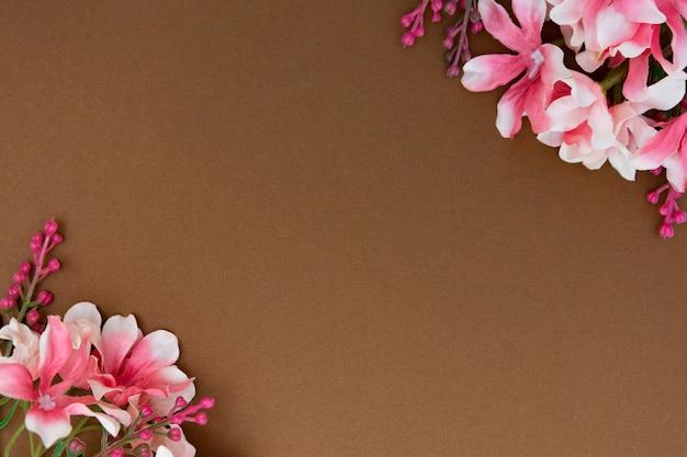 Schöne rosa blume lokalisiert auf braunem hintergrund mit kopienraum. frühling oder ostern konzept.