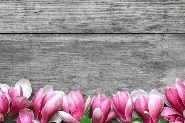 Schöne rosa magnolienblumen auf rustikalem holztischhintergrund. draufsicht. flach liegen. frühlingskonzept