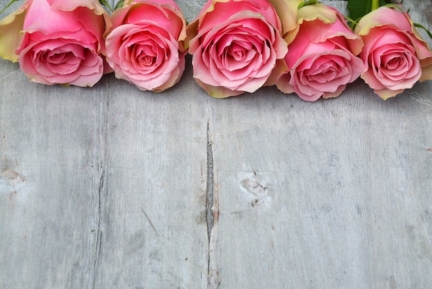 Schöne rosa rosen auf einer holzoberfläche