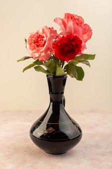 Schöne rosa und rote blumen der vorderansicht der roten rosen innerhalb des schwarzen kruges lokalisiert auf tisch und rosa