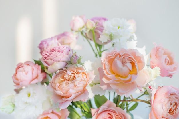 Schöne rosen auf weißem hintergrund