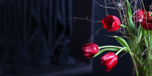 Schöne rote farbe der tulpenblume in der glasvase auf schwarzem hintergrund. valentinstag oder muttertag grußkarte. kopieren sie platz für text. banner