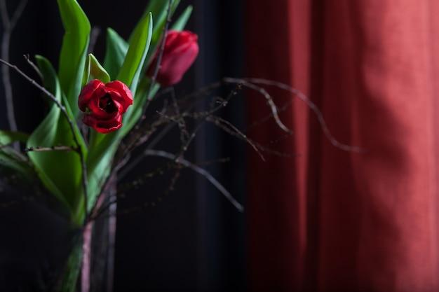 Schöne rote farbe der tulpenblume in der glasvase auf schwarzem hintergrund. valentinstag oder muttertag grußkarte. kopieren sie platz für text