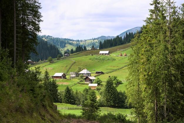 Schöne rustikale landschaft von bergen