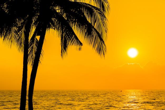 Schöne schattenbildkokosnusspalme auf himmel neary seeozeanstrand zur sonnenuntergang- oder sonnenaufgangzeit