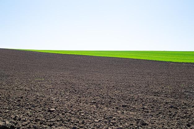 Schöne schwarze erdfelder in der ukraine. landwirtschaftliche ländliche landschaft, bunte hügel. gepflügtes dunkles land und grüne felder. entdecken sie die schönheit der welt.