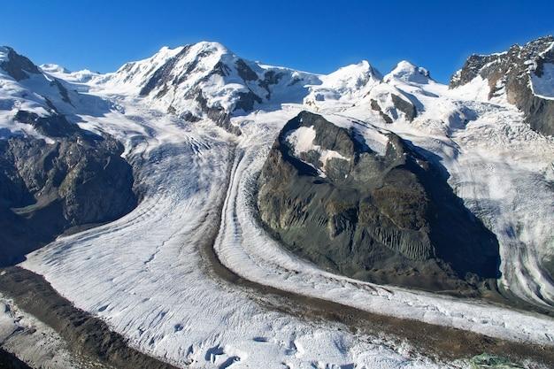 Schöne schweizer alpenlandschaft mit bergblick im sommer