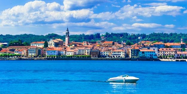 Schöne seen italiens, malerisches dorf arona, lago maggiore
