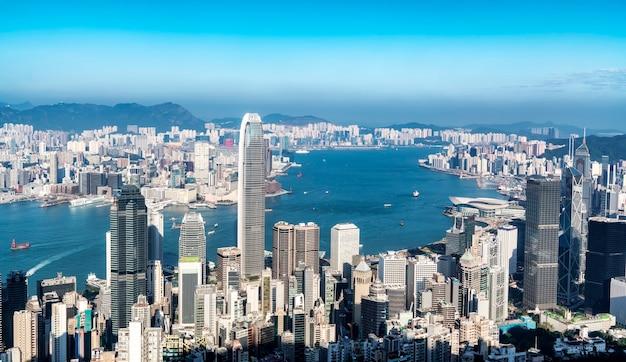 Schöne skyline der stadt von hongkong, china