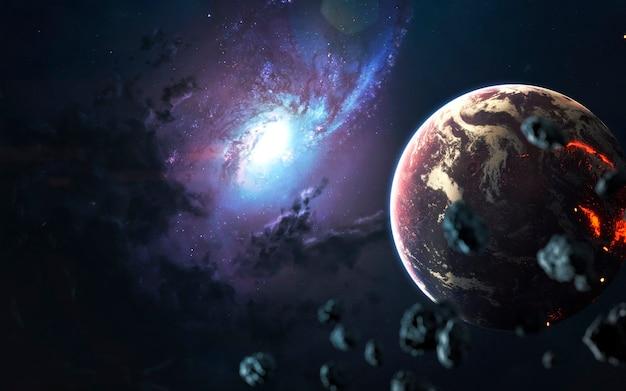 Schöne spiralgalaxie, fantastische science-fiction-tapete, kosmische landschaft. elemente dieses bildes von der nasa geliefert