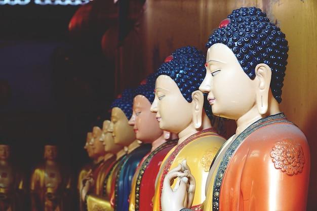 Schöne statue von sieben buddha nah oben