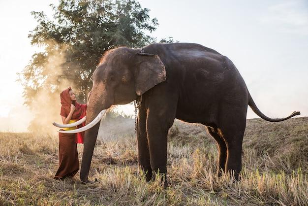 Schöne thailändische frau, die zeit mit dem elefanten im dschungel verbringt