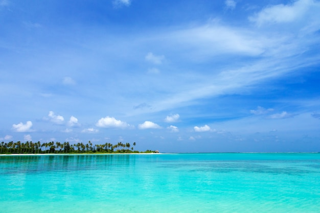 Schöne tropische malediveninsel mit strand. meer mit wasserbungalows