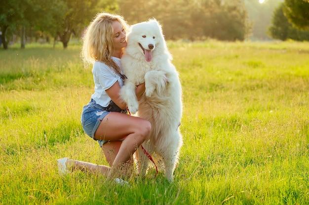 Schöne und charmante lockige blonde lächelnde zahnfrau in denim-shorts sitzt am glas und umarmt weißen flauschigen süßen samojedenhund im sommerpark-sonnenuntergangstrahlen-feldhintergrund. haustier und herrin.