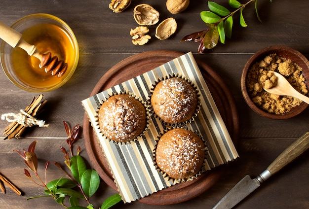 Schöne und leckere dessert draufsicht