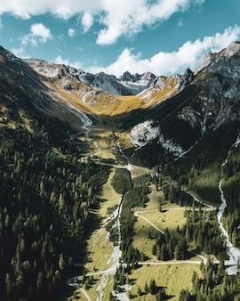 Schöne vertikale aufnahme von wäldern, bergen und dem bewölkten himmel