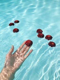 Schöne weibliche hand, die eine rote blume des blauen wassers hält. entspannungs- und spa-konzept.