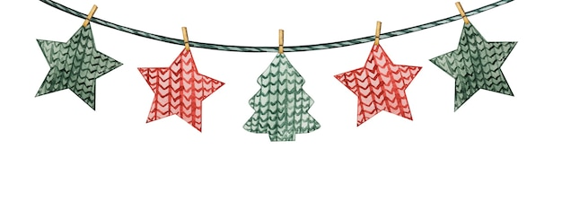 Schöne weihnachtsdekorationen in form von bunten fahnen.
