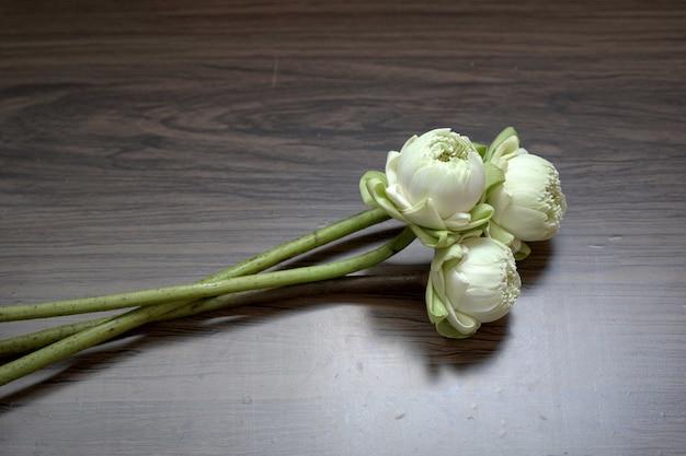 Schöne weiße lotusblumen zum beten von buddha auf holzuntergrund