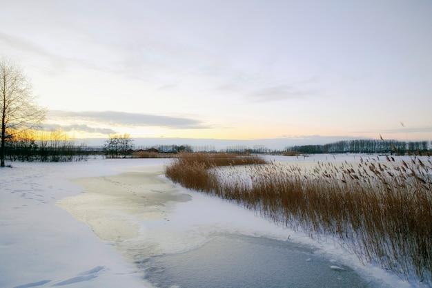 Schöne winterlandschaft bei sonnenuntergang mit nebel und schnee bedeckt ackerland und fluss niederlande Premium Fotos