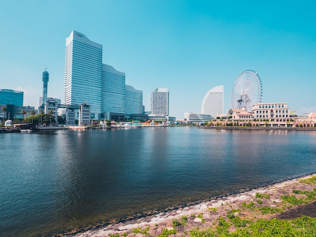 Schöne yokohama-skylinestadt in japan