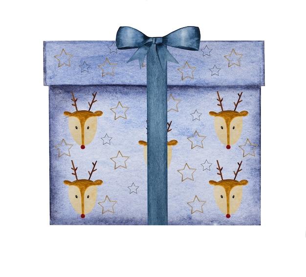Schöne zeichnung von kisten mit geschenken in aquarellfarbe