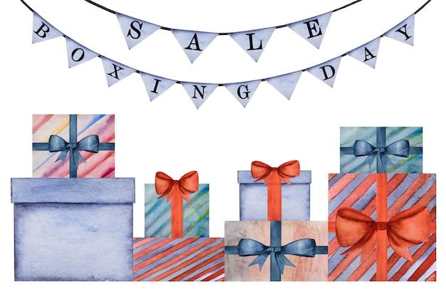 Schöne zeichnung von kisten mit geschenken. nahaufnahme, keine leute. aquarellfarbe. einkaufs- und unterhaltungskonzept