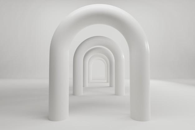 Schöner abstrakter grauer tunnel mit farblicht auf schwarzem hintergrund. 3d-rendering