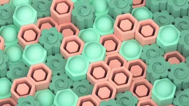 Schöner abstrakter sechseckiger hintergrund. grüne und hellorangefarbene felder. 3d rendern