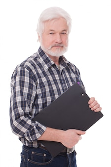 Schöner älterer mann mit ordner