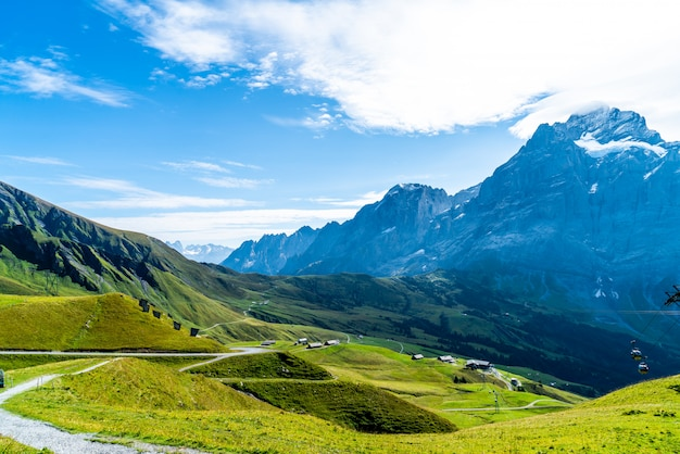 Schöner alpenberg in grindelwald, die schweiz