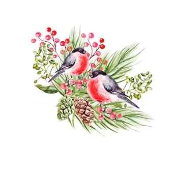 Schöner aquarell weihnachtsstrauß mit gimpel vögeln