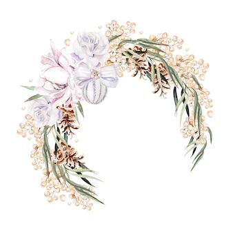 Schöner aquarellblumenkranz mit rosen und pfingstrose, beeren und eukalyptusblättern
