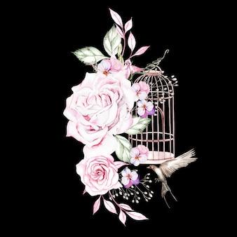 Schöner aquarellblumenstrauß mit vögeln und blumen und vogelkäfig illustration