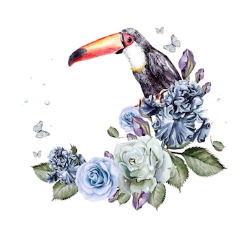 Schöner aquarellhintergrund mit blumenrosen und iris. vogel tukan. illustration
