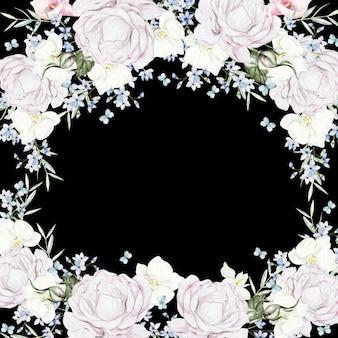Schöner aquarellrahmen mit weißen blumen auf schwarzem hintergrund