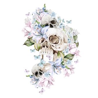 Schöner aquarellschädel mit pfingstrosen- und rosenblüten. illustration