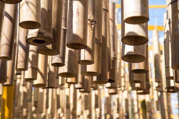 Schöner bambus, der im garten hängt