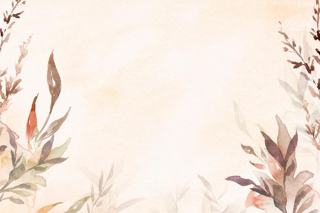 Schöner blattaquarellhintergrund in der braunen herbstsaison