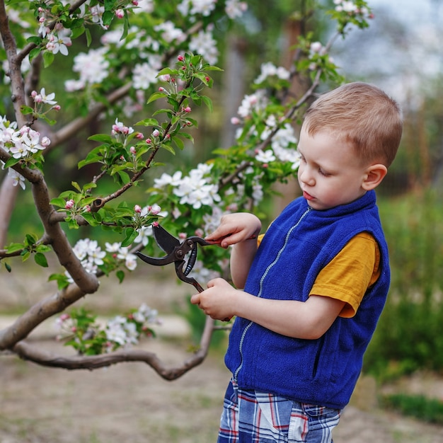 Schöner blonder kleiner junge, der im frühlingsgarten arbeitet