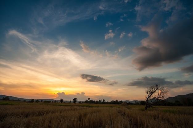 Schöner dämmerungshimmel mit wolke vor sonnenuntergangmorgenhintergrundbild