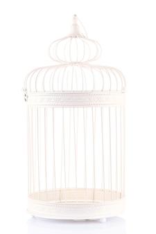 Schöner dekorativer käfig, auf weiß