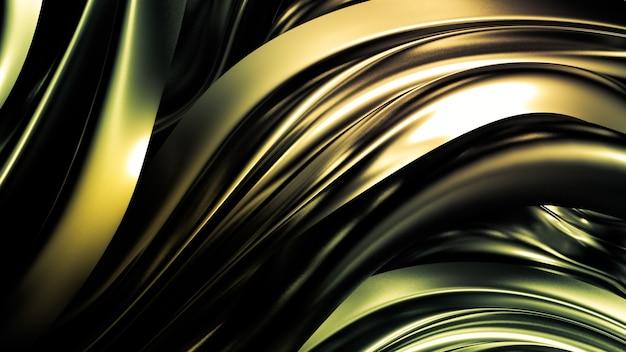 Schöner gelbgrüner hintergrund mit falten, locken und spritzern. 3d-illustration, 3d-rendering.