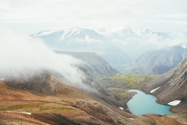 Schöner gletschersee im hochlandtal