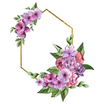 Schöner goldener aquarellrahmen mit lila blumen
