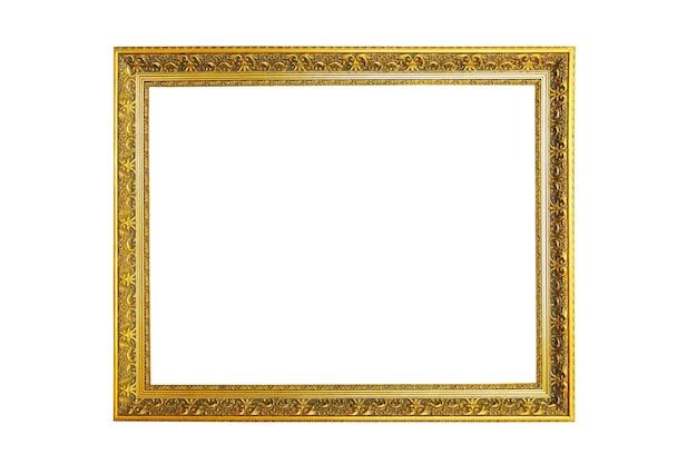 Schöner goldener bilderrahmen lokalisiert auf weiß
