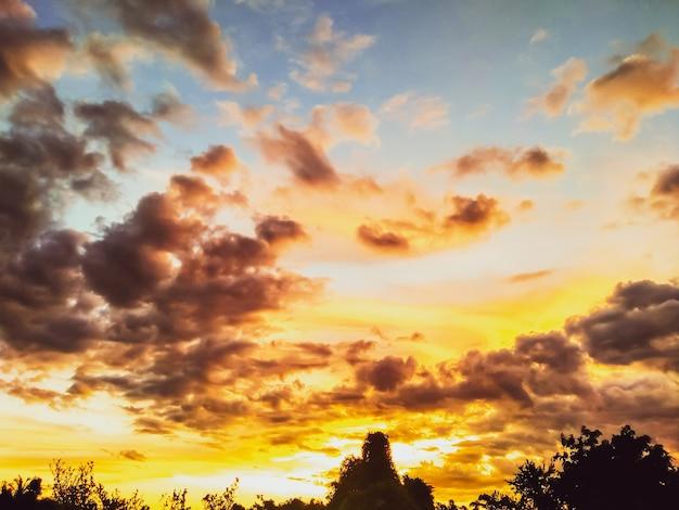 Schöner goldener himmelpanoramablick am abend. schöner goldener himmelspanoramablick am abend. goldene stunden verteilen sich über den himmel