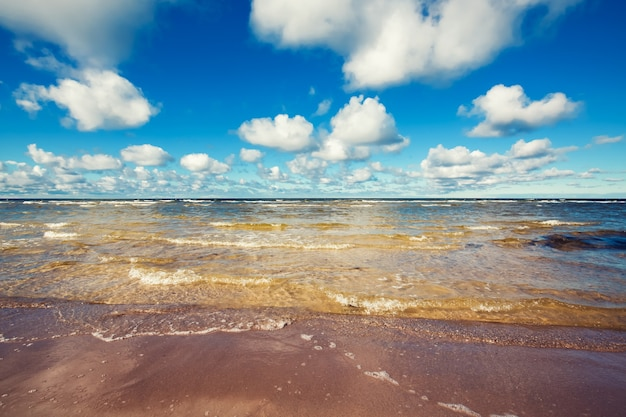 Schöner heller sonnenuntergang über dem natürlichen hintergrund der ostsee lettland