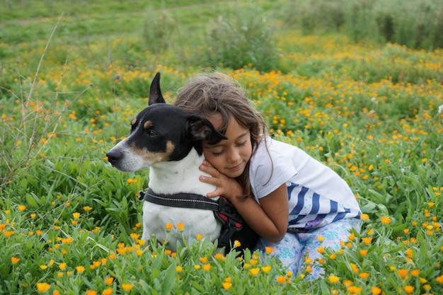 Schöner jack russell terrier auf einer wiese mit ihrer freundin, einem 5 jahre alten mädchen